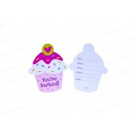Tarjeta de Invitación Cupcake x8