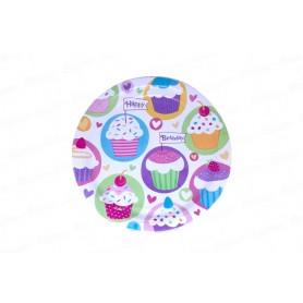 Platos grandes redondos Cupcake x8