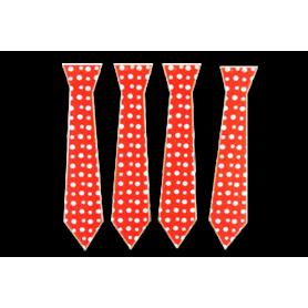 Corbata Polka Roja Paquete x 12