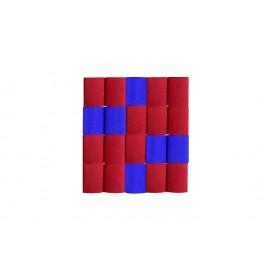 Cortina Crepe Azul - Rojo