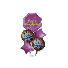 Globo Ramillete Hexagonal Feliz Cumpleaños