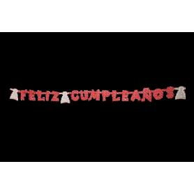 Letrero Feliz Cumpleaños Polka Rojo