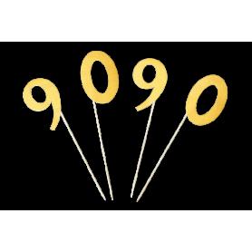 Toppers 90 años Dorado Paquete x3