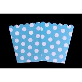 Crispetera Polka Azul Celeste Paquete x12
