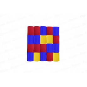 Cortina Crepe Rojo -  Azul - Amarillo