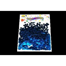 Confetti Corazones Azul Metalizado