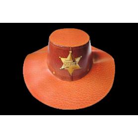 Sombrero Cartón Vaquero Sheriff Naranja
