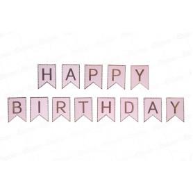 Letrero Happy Birthday Rosado - Dorado