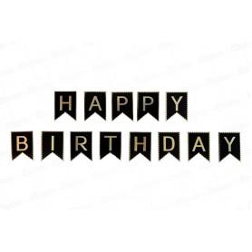 Letrero Happy Birthday Negro - Dorado
