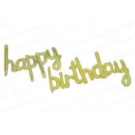 Globo Letrero Happy Birthday Dorado
