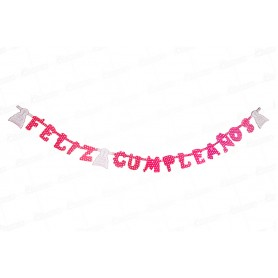 Letrero Feliz Cumpleaños Polka Fucsia