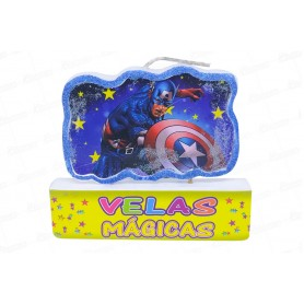 Vela Grande Mágica Feliz Cumpleaños Capitán América