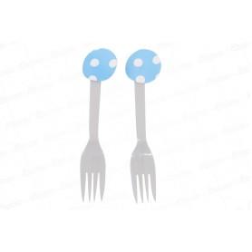Tenedor Polka Azul Celeste Paquete x12