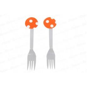 Tenedor Polka Naranja Paquete x12