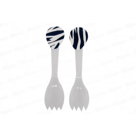 Cucharas Tenedor Cebra Negro Paquete x20