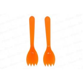 Cuchara Tenedor Naranja Neón Paquete x 20