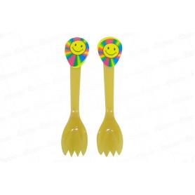 Cuchara Tenedor Carita Feliz Paquete x20