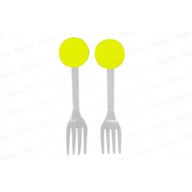 Tenedor Neón Amarillo Paquete x12