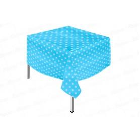 Mantel Plástico Polka Azul Celeste