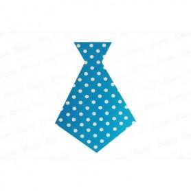 Corbata Grande Polka Azul Paquete x6