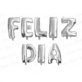 Globo Letrero Metalizado Feliz Día Plateado