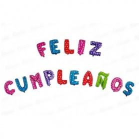 Globo Letrero Metalizado  Feliz Cumpleaños Estampado
