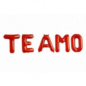 Globo Letrero Metalizado Te Amo Rojo