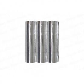 Serpentina Metalizada Plateada x3