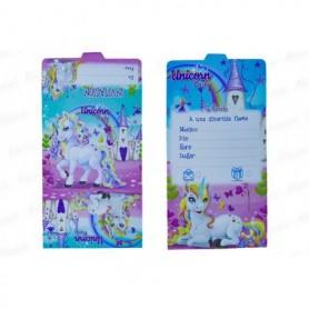 Tarjeta de Invitación Unicornio Paquete x12