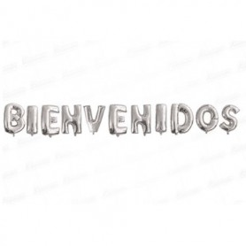Globo Letrero Metalizado Bienvenidos Plateado