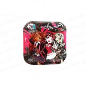 Plato Cuadrado Monster High Paquete x8