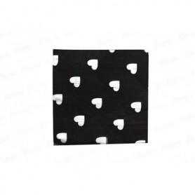 Servilleta Grande Negro Corazón Paquete x20