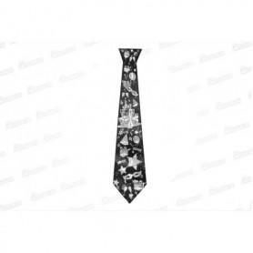 Corbata Negra con Plateado Paquete x12