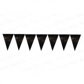 Banderín Negro Feliz Cumpleaños Dorado