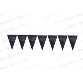 Banderín Feliz Cumpleaños Negro-Plateado