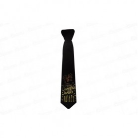 Corbata Negra con Dorado Feliz Cumpleaños Paquete x12