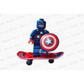 Muñeco Lego Capitán América En Patineta