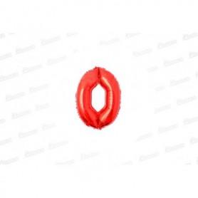 Globo Metalizado Pequeño Rojo Número 0