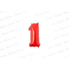 Globo Metalizado Pequeño Rojo Número 1