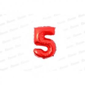 Globo Metalizado Pequeño Rojo Número 5