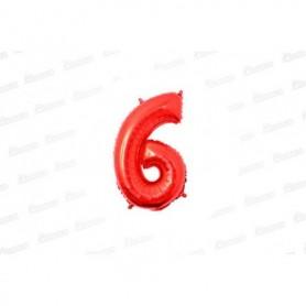 Globo Metalizado Pequeño Rojo Número 6