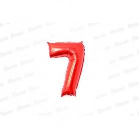 Globo Metalizado Pequeño Rojo Número 7