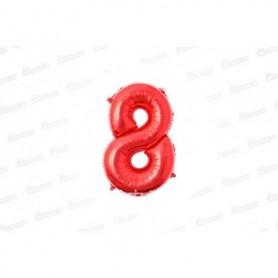 Globo Metalizado Pequeño Rojo Número 8