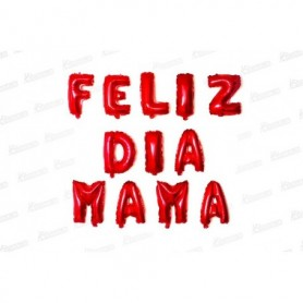 Globo Letrero Feliz Dia Mamá Rojo