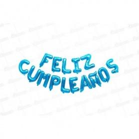 Globo Letrero Metalizado Feliz Cumpleaños Azul