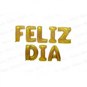 Globo Letrero Metalizado Feliz Día Dorado