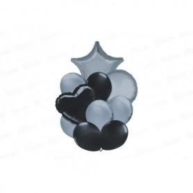 Globo Ramillete Plateado - Negro x11