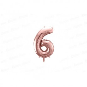 Globo Metalizado Pequeño Rosado Número 6