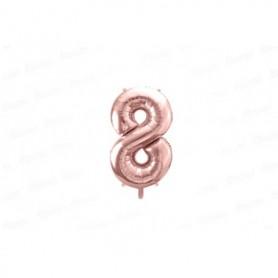 Globo Metalizado Pequeño Rosado Número 8