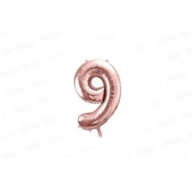 Globo Metalizado Pequeño Rosado Número 9